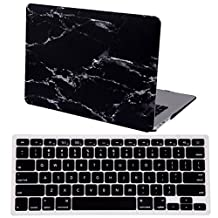 """HDE MacBook Air 13"""" Case Marble Designer Hard Shell Rubber Coated Plastic Cover with Keyboard Skin Fits Models A1369 / A1466 (Black and White)"""