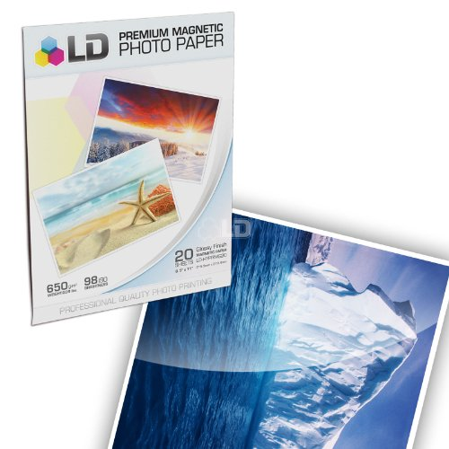 [LD © Glossy Inkjet Magnetic Photo Paper 8.5x11 (20 Sheets)] (Glossy Magnetic Paper)