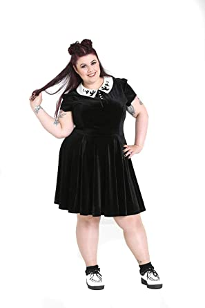 f78c25a2e7 Hell Bunny Plus Size Gothic Wednesday Addams Casper Ghost Mini Dress (3X)
