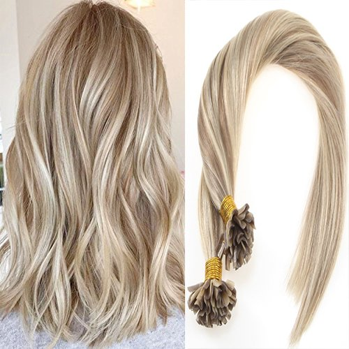 Sunny 50 Strands Brazilian Remy Hair Keratin U Tip Silky Straight Human Hair Extensions Blonde mixed Brown 16/22# 16 Inches Long