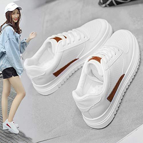 WFCAYDHN Hollowing Air White Shoes Estudiante Zapatos Deportivos Zapatos Casuales Moda Artificial PU Tamaño Forty
