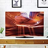 iPrint LCD TV Cover Lovely,Natural Cave Decorations,Ocean and Sky View from Inside The Rock Cavern Mediterranean Sea Photo,Cream Blue White,Diversified Design Compatible 32'' TV