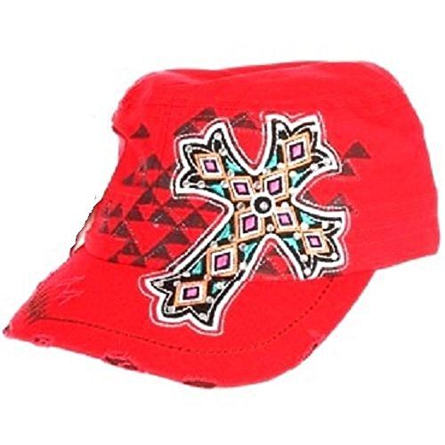 Ky & Co YK Adjustable Western Cowgirl Aztec Rhinestone Cross Cadet Cap Hat Red JP ()
