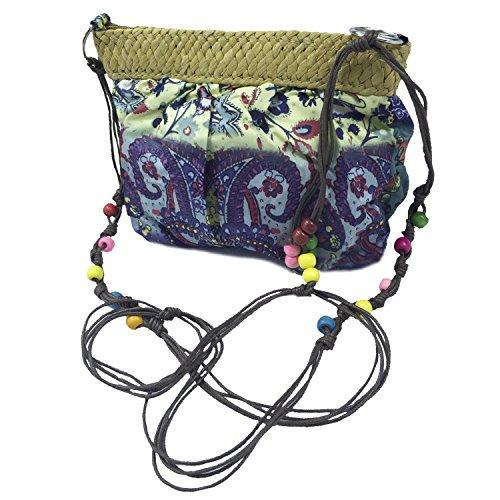 Abaría - Bolso tejido crossbody bag mujer?verde azul y verde
