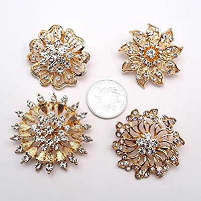 ZAKIA Wholesale a Large Number of Gold and Silver 12 Pieces of Crystal Flower Bride Brooch pin Brooch Clothing do not Buckle Brooch