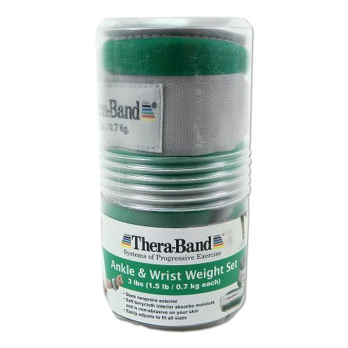 Thera-band Comfort Fit Ankle/Wrist Cuff Weights, Set of 2, Green, 1.5-Pound by TheraBand