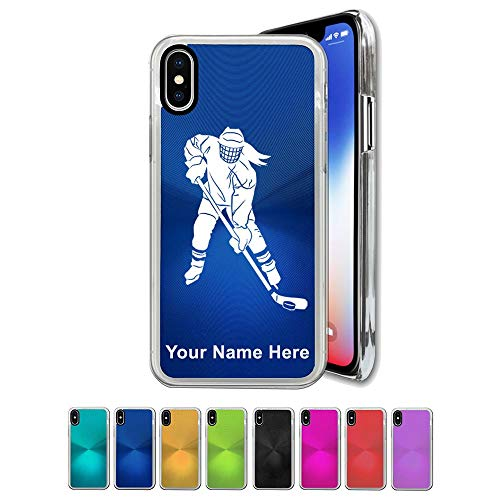 Case Compatible with iPhone XR, Hockey Player Woman, Personalized Engraving Included (Hockey Iphone Personalized)
