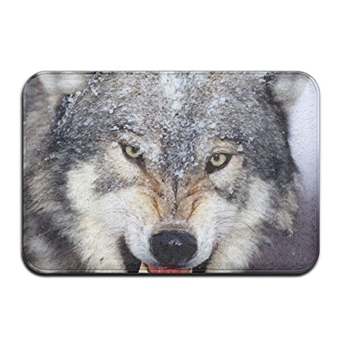 Snow Angry Wolf Indoor Bathroom Mats 2416 Inch Floor Mat (Mask Quest Nose)