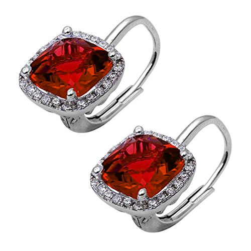 Halo Leverback Earrings Cushion Simulated Garnet Round Cubic Zirconia 925 Sterling - Asscher Garnet Ring