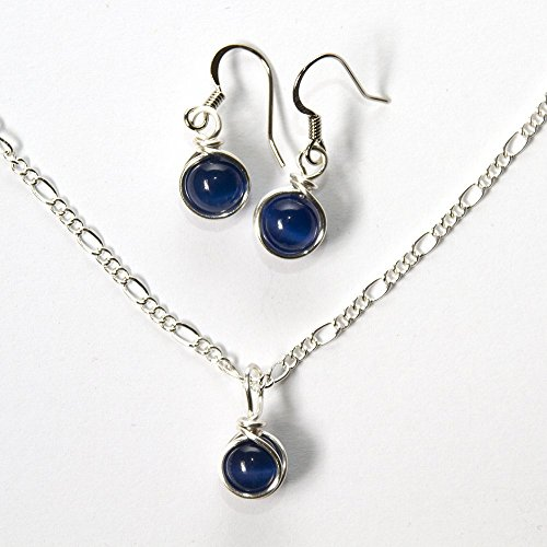 Dark Blue Earrings and Necklace Set - Handmade Navy Jewelry 18