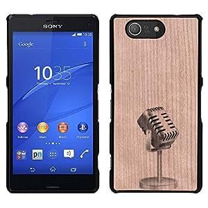 - Microphone Artist Stand Up Comedy - - Funda Delgada Cubierta Case Cover de Madera FOR Sony Xperia m55w Z3 Compact MiniSony Xperia m55w Z3 Compact Mini BullDog Case