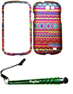 FoxyCase(TM) FREE stylus AND For Samsung Galaxy Express i437 (AT&T) Rubberized 2D Design Aztec Indian Tribal Stripes Pattern Case Cover Protector