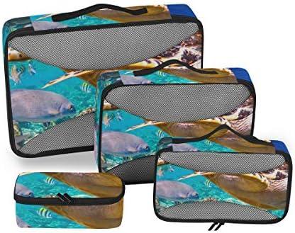 トラベル ポーチ 旅行用 収納ケース 4点セット トラベルポーチセット アレンジケース スーツケース整理 動物柄 カメ サンゴ 収納ポーチ 大容量 軽量 衣類 トイレタリーバッグ インナーバッグ