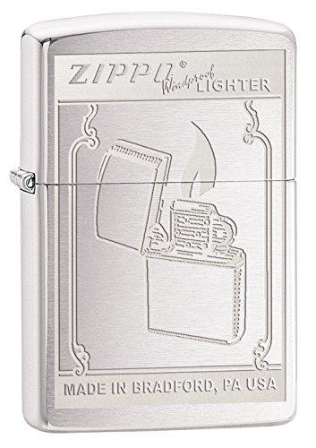 "Price comparison product image Zippo ""Vintage Design In Laser Brushed Chrome Lasered Lighter"