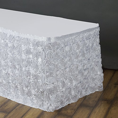 BalsaCircle 14 feet x 29-Inch White Satin Raised Roses Banquet Table Skirt Linens Wedding Party Events Decorations Kitchen Dining
