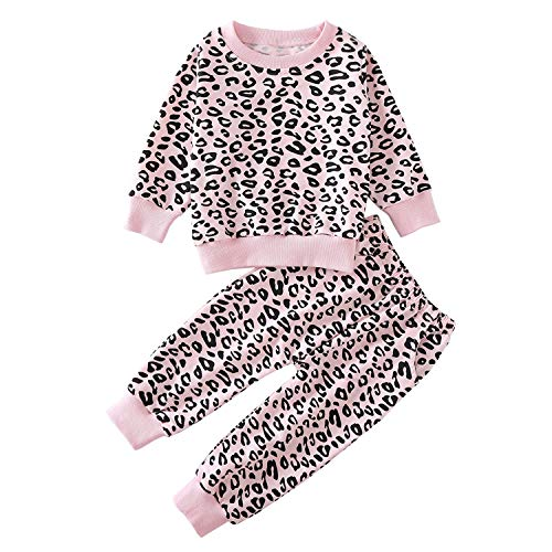 Toddler Baby Girls Leopard Print Summer Clothes Set T-Shirt and Short Pants 2pcs Outfits (4-Pink(Long Sleeve), 3T)