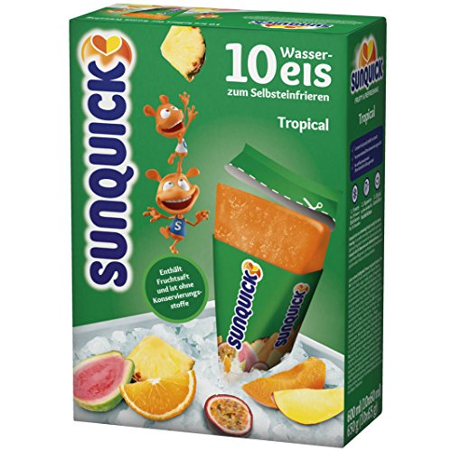SUNQUICK Flavored Freezer pops/ice Cream Tropical 10ct. Imported from Denmark -