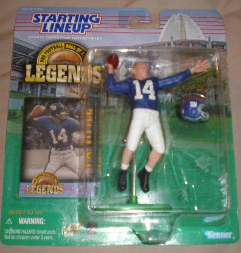 1998 - Kenner - Formación inicial - Leyendas profesionales de fútbol americano (HOF) - Y.A. Título # 14 - QB - New York Giants - Figura de acción vintage - con tarjeta de comercio - Edición limitada - Coleccionable
