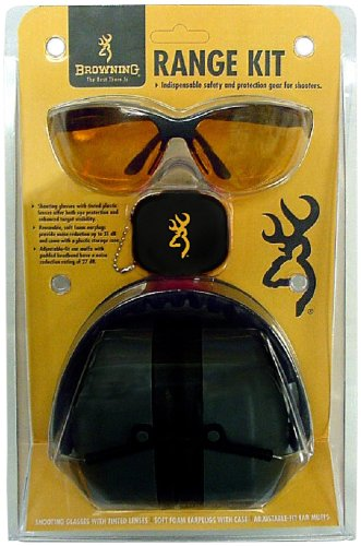 (Browning Range Kit Shooting Glasses, Foam Earplugs, and Adjustable-fit Earmuffs Combo Pack)