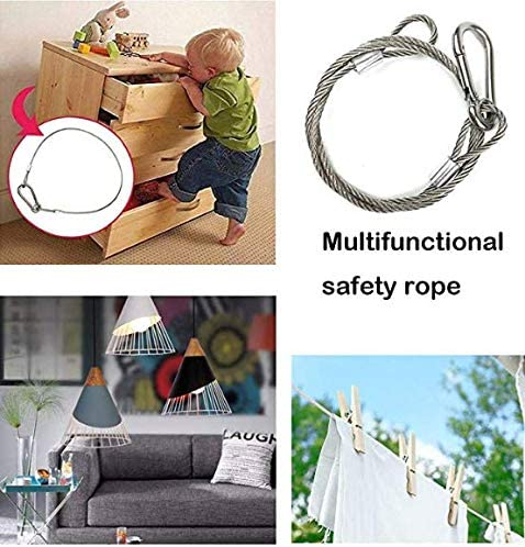 Safety Cable for Fall Prevetion Luggage Lock with 48 Long 1Pack Security Cable for Stage Lights Hang Speaker,Audio,TV Set Locking Door Keep Your Pet Home,Office,Hotel,Car,Boat,Exibition