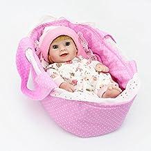Kaydora 10inch Full Silicone Reborn Baby Blonde Hair Girl Lifelike Dolls Looking Body Wrinkles - With Pink Handmade Hat & Baby Pajamas & White Socks & Mini Cradle Bed and Blanket Set