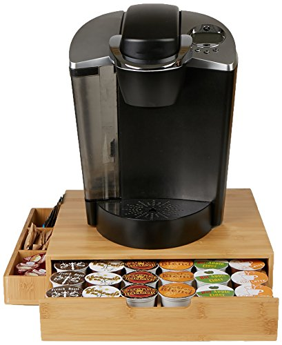 Mind Reader Bamboo 36 Capacity K-Cup Single Serve Coffee Pod Drawer with Side Condiment Caddy Organizer, Brown (Keurig Cup Holder Wood)