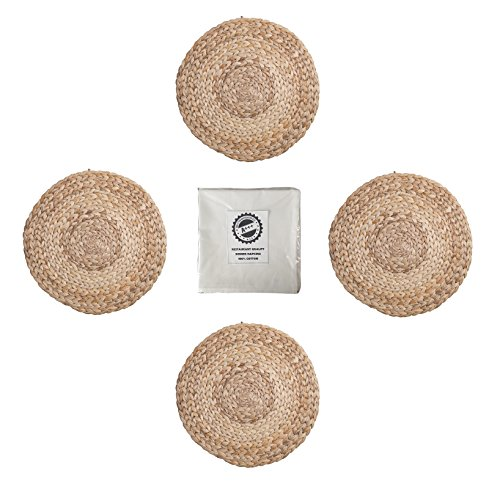 IKEA Soare Natural Handmade Water Hyacinth Table Placemat And Cotton Napkin Bundle - For Dinner Table, Dining Room Set - Natural (8 Pieces - 4 Placemats and 4 Napkins)