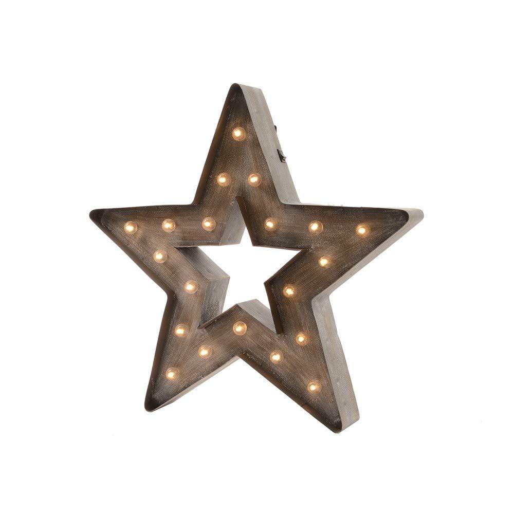 Estrella de madera con marco de hierro