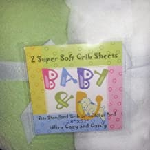 Baby & U Super Soft Crib Sheets Green and White 2 Pack by Baby & U