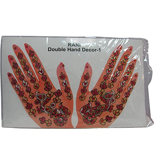 [Indian Fashion Art Bollywood Hand Tattoo Sparkling Rhinestone Stick-On Reuseable Bindi (Red)] (Ethnic Dance Costume)
