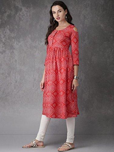 Kurta Bollywood White Ready Wear Kurti Anarkali Designer to Dress Women Dream Red Fashion Angel Printed wX4Fqz