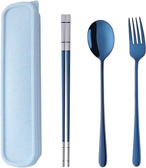 Set de Cubiertos de Viaje Acero Inoxidable 304 Vajilla Portatil Cuchara Tenedor Palillo con Caja de Almacenamiento Azul - DoBuy