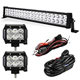 YITAMOTOR LED Light Bar 24 Inch 120W Light Bar Combo + 2PCS 18W Spot Pod Lights with Wiring Harnesses Compatible for Offroad Truck, 4X4, ATV, Boat, Jeep, Motorcycle, Trailer, 3 Years Warranty