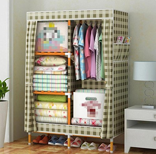 GL&G Portable Clothes Closet Oxford cloth Wardrobe Double Rod Storage Organizer Bedroom Solid wood Wardrobes Clothing Storage individual Foldable Closets,A,39''63'' by GAOLIGUO