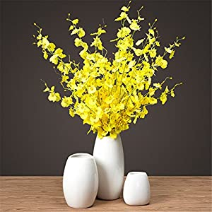 """Crt Gucy Artificial Flowers 10 Pieces 37.4"""" Long Stem Artificial Dancing Lady Orchid Oncidium Silk Orchid for Wedding Home Office Decoration Festive Furnishing 75"""