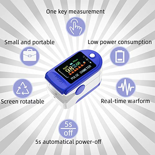 Valuecon 4 Color OLED Display Pulse Oximeter Latest 2020 Model - for Heart Rate Monitor, Spo2 Blood Oxygen, Visual Alarm Batteries Included