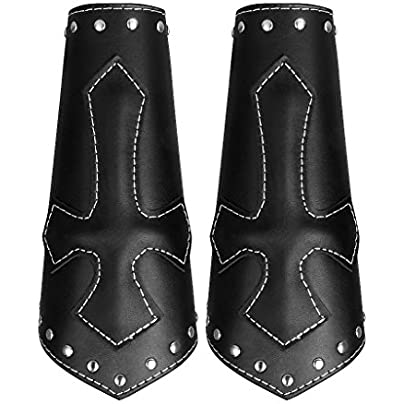 Womens Mens Cool Leather Punk Arm Guard Cross Wristband Medieval Wrist Bracer 2pieces Estimated Price £11.94 -