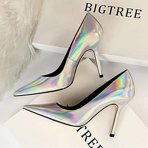 HBDLH Damenschuhe Mode Sexy 10Cm Heel Night - - - Club - Schuhe Slim Flachen Mund Haben Einfach Einzelne Schuhe 776aaf