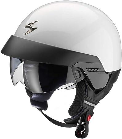 Scorpion Exo 100 Helm Für Roller Motorrad Jet Weiß Offenes Gesicht Mit Abnehmbarem Kragen Und Externem Visier Sport Freizeit