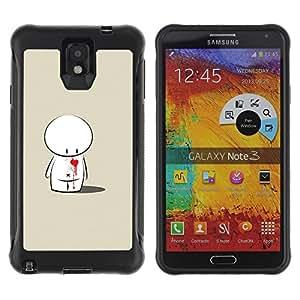 Pulsar Defender Series Tpu silicona Carcasa Funda Case para SAMSUNG Galaxy Note 3 III / N9000 / N9005 , Cute Love Heart Sad