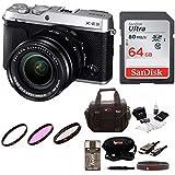 Fujifilm X-E3 Mirrorless Camera w/XF18-55mm Lens Kit w/64GB Memory Card & Focus Camera Gadget Bag