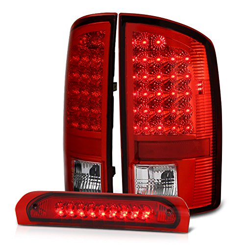 [3-Piece Rear End Bundle] VIPMotoZ 2002-2006 Dodge RAM 1500 2500 3500 LED Tail Lights & Third Brake Lamp - Rosso Red Housing, Driver and Passenger Side