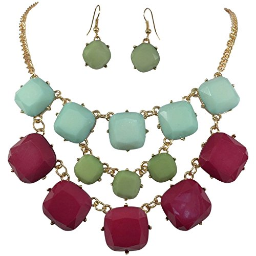 3 Row Squares Multi Color Gold Tone Bib Statement Necklace Earrings Set (Maroon Green Blue) (Drop Bib Necklace)