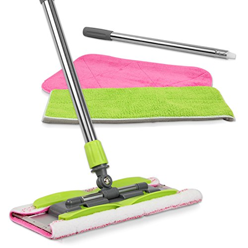 LINKYO Microfiber Floor Mop - 3 Reusable Mop Pads and Extension Included