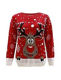 F&F Kids Girls Boys Christmas Red Nose Jumper Unisex Reindeer Print Jumper