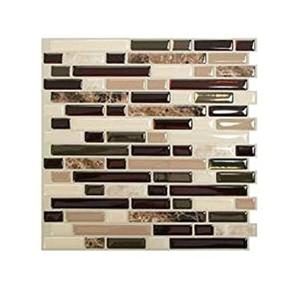 Amazon.com: 10 in. x 10 in. Peel and Stick Mosaic Decorative Wall ...