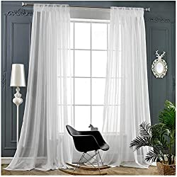 "White Sheer Curtains 84 Inch Length Rod Pocket Window Treatment Drapes Voile Panels for Living Room/Bedroom (2 Panels, 54""x 84"")"