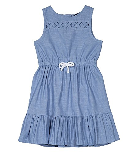 Lattice Back Dress - Nautica Girls' Big Patterned Sleeveless Dress, Lattice Chambray, Small (7)
