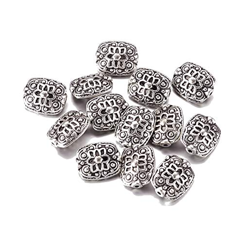 Fashewelry 20Pcs Antique Silver Flat Square Spacer Beads 13x11mmmm Lead Free & Nickel Free & Cadmium Free Tibetan Metal Flower Carved Charm Beads for DIY Jewelry Craft Making ()