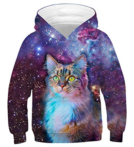 AIDEAONE Fashion Hoodies Cool Cat Sweatshirt Pullover for Boys and Girls ()